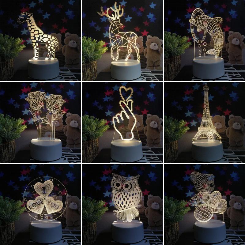 立體小夜燈3D插電卧室床頭燈少女心房間裝飾創意韓風宿舍夢幻擺件