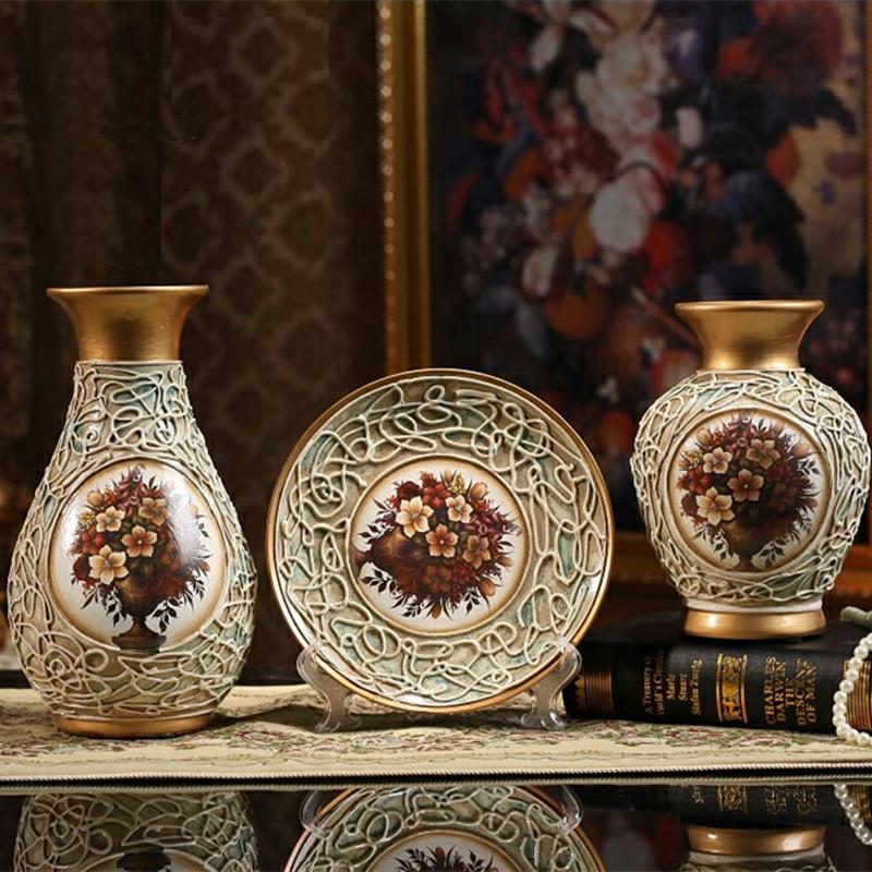 创意结婚礼物家居摆设复古陶瓷花瓶客厅三件套酒柜装饰品摆件欧式限9000张券