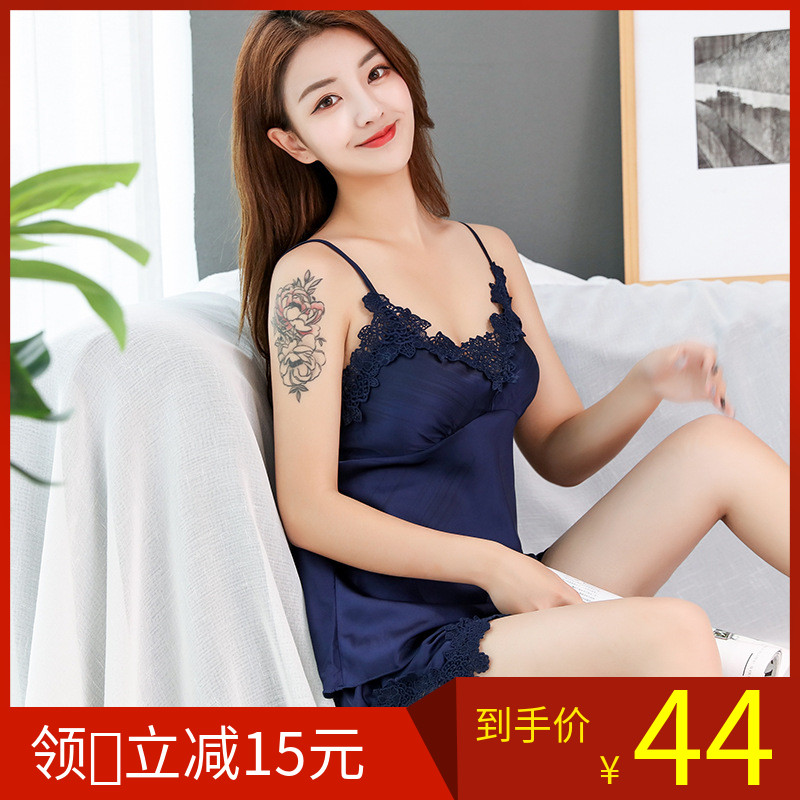 Ice silk sexy pajamas womens summer suspender shorts two piece suit with breast pad silk pajamas home wear thin