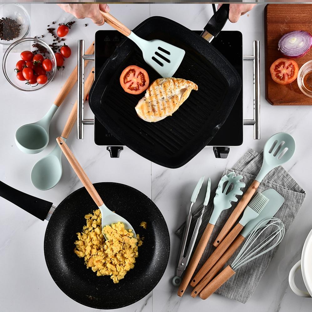 耐高温炒菜炒勺漏硅胶铲不粘锅煎铲套装食品级锅铲木柄把厨房家用