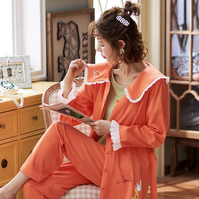 实拍月子服春秋纯棉哺乳衣产后孕妇睡衣女产妇怀孕期宽松三件套装