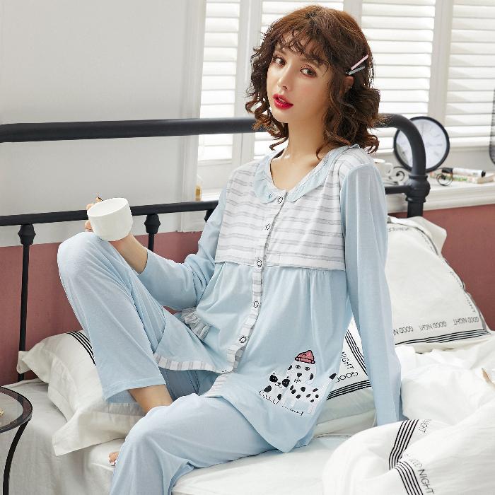 實拍新款月子服精梳6535棉春秋孕婦哺乳睡衣女夏懷孕期家居服套裝