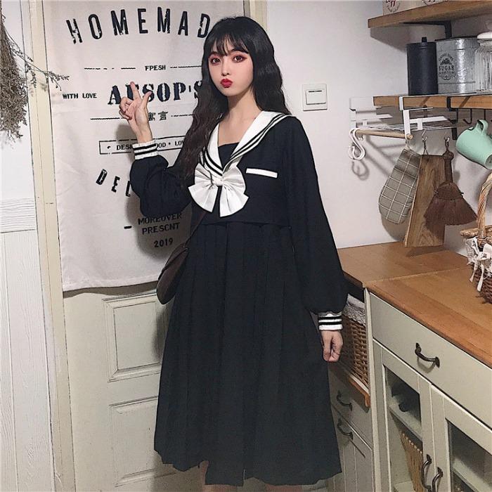 裙子女2019新款秋季女装韩版复古甜美可爱海军领长袖气质连衣裙女券后59.88元