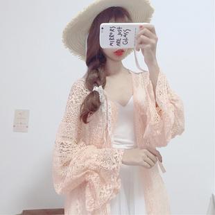 秋装新款女装韩版学生蕾丝宽松灯笼袖长袖中长款防晒衫薄款雪纺衫