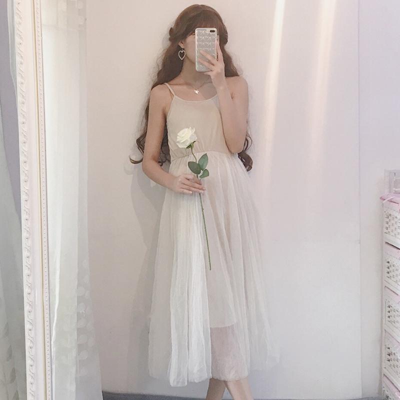 春季新款2019韩版女装气质裙子吊带裙学生中长款打底网纱裙连衣裙
