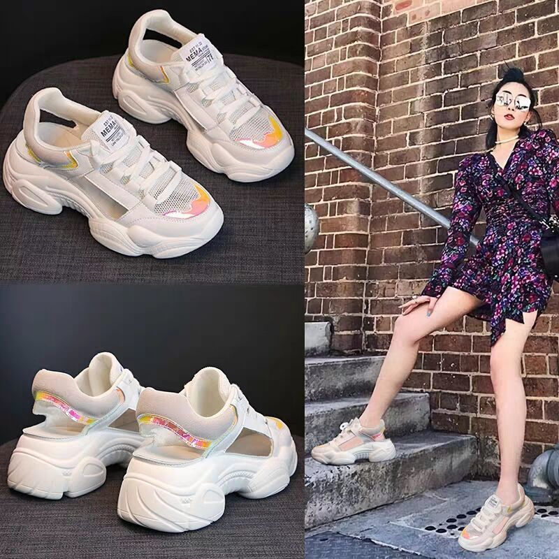 Mesh hole dad shoes womens soft soles lightweight hollow mesh 2020 Baotou sports Mid Heel Sandals are versatile in summer