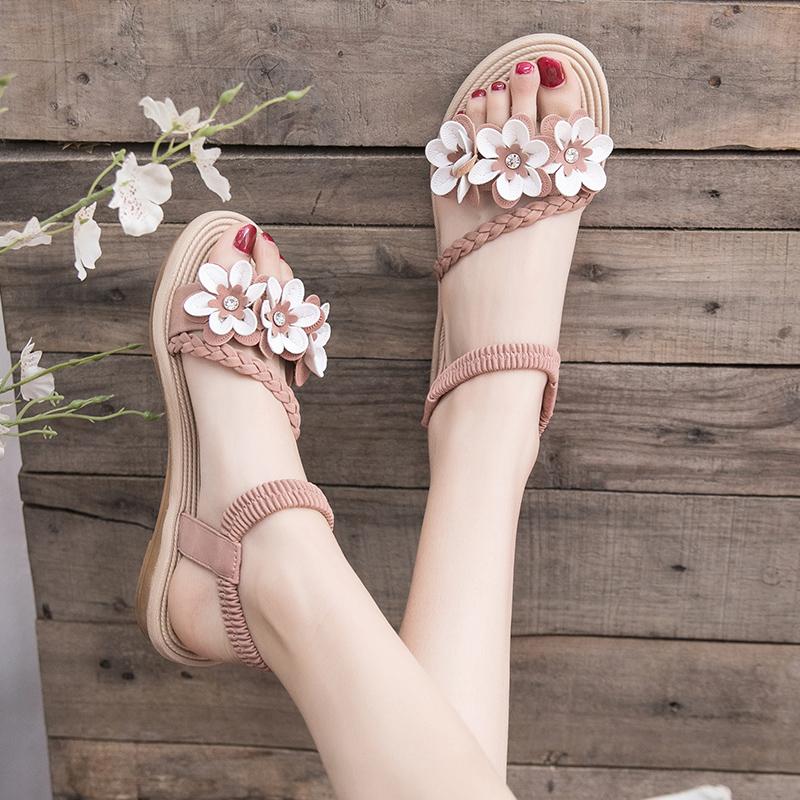 仙女风凉鞋女学生2019夏季新款女鞋韩版百搭沙滩鞋平底厚底罗马鞋正品保证