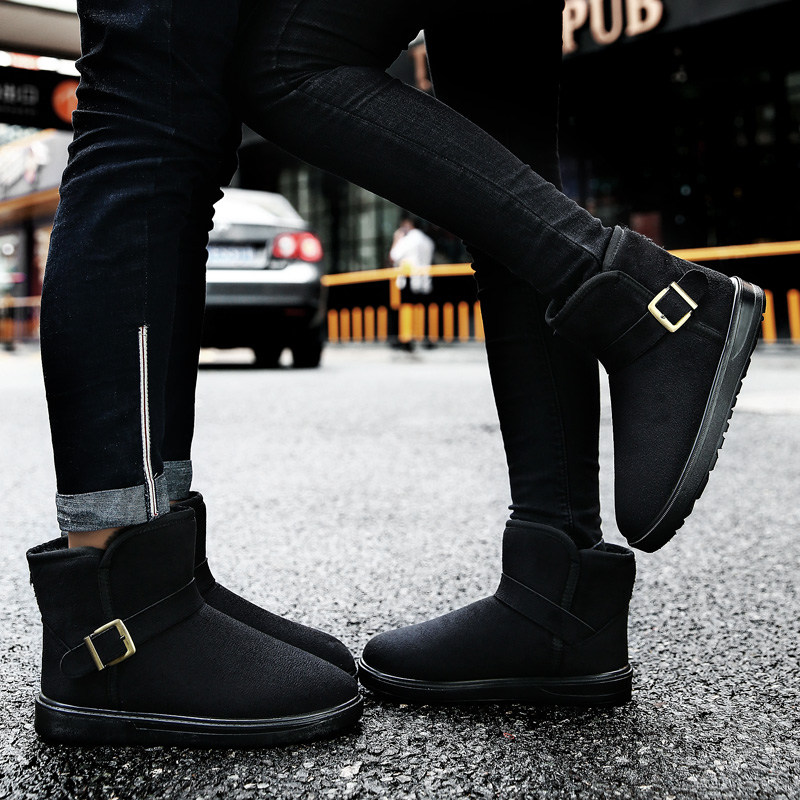 Winter couples snow boots womens shoes Plush thickened suede short boots warm cotton boots cotton shoes breathable sleeve mens Boots