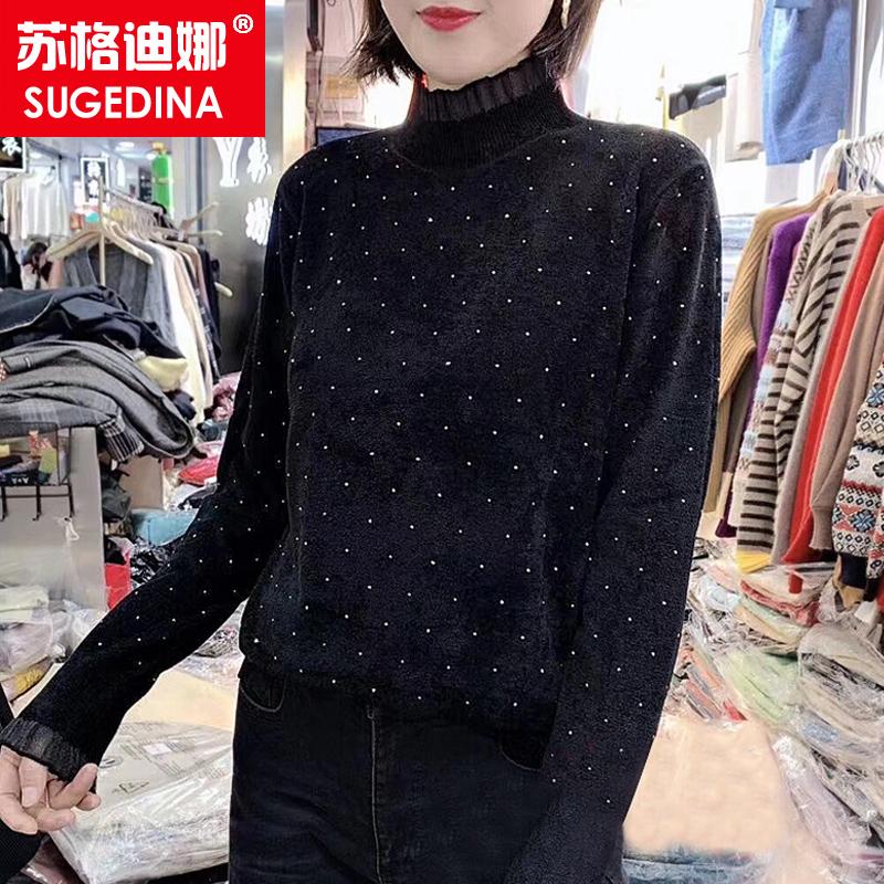 天鹅绒打底衫女秋冬时尚洋气2019新款宽松短款半高领套头毛衣外穿