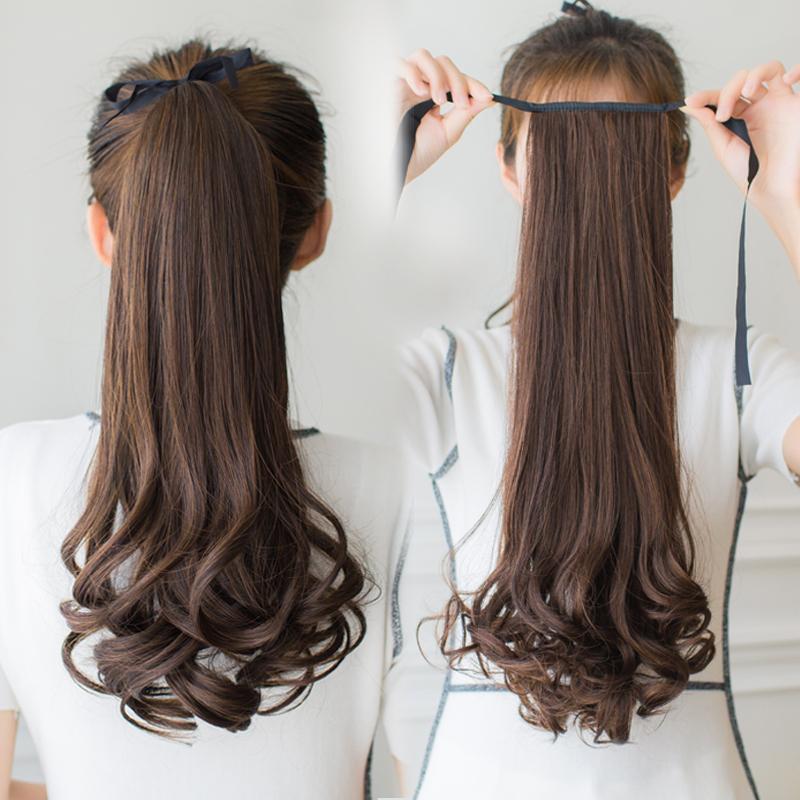 短款中长假发女长发长卷发大波浪气质发式马尾辫时尚绑带式造型