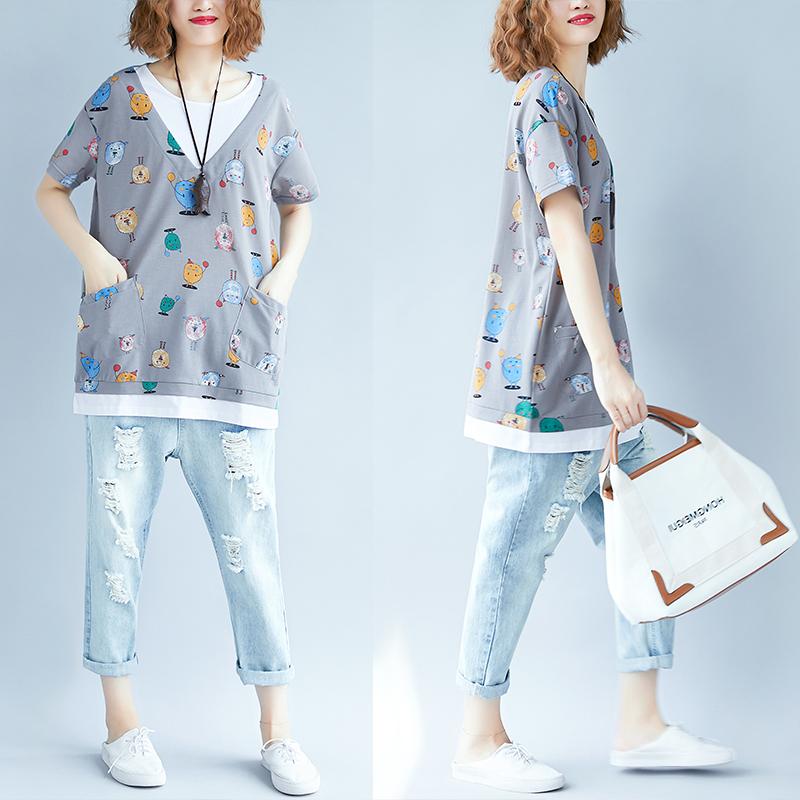 2018夏季新品韩版大码中长款女装胖mm显瘦短袖T恤女中长款上衣