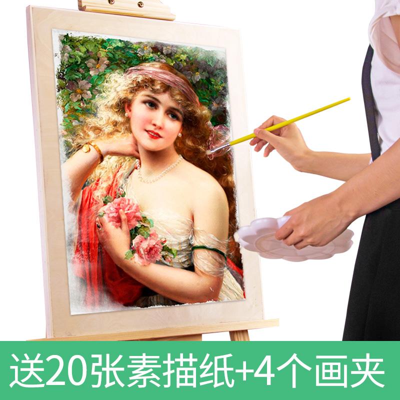 画板素描写生4k水彩水粉手提四开8k实心空心便携美术专业儿童小学生木质成人绘画初学者套装多功能油画架画夹