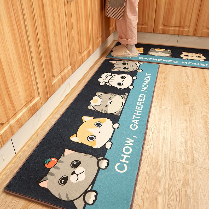 厨房地垫可爱卡通防滑吸水长条防油垫子防水家用耐脏厨房地毯满铺