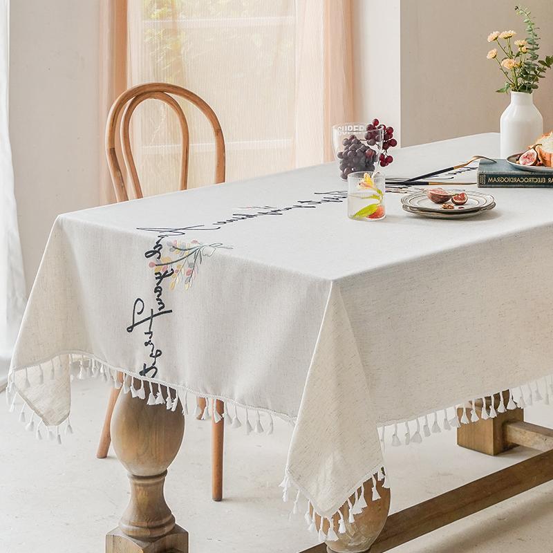 【立体刺绣】小清新棉麻桌布锁边工艺