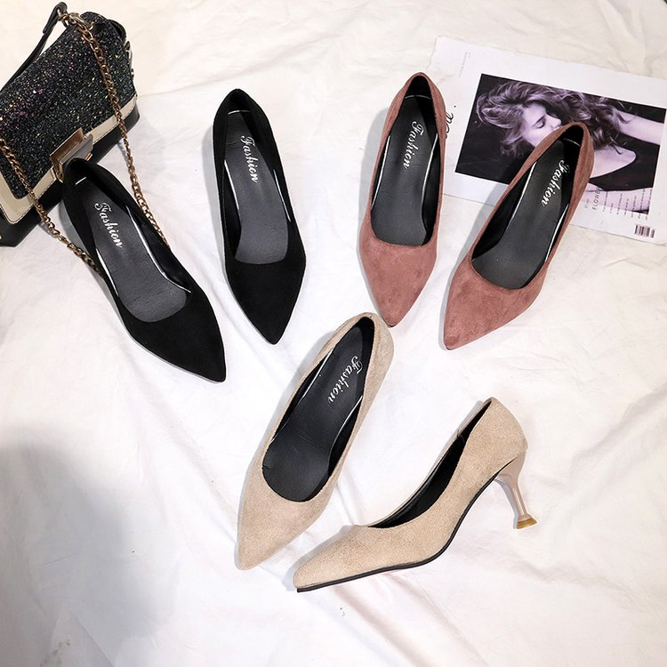 2020 winter new single shoe womens shoe cover foot high heel shallow mouth rubber thin heel 2019 spring pointed suede Pu