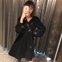 大码春装新款女装胖mm气质减龄小香风V领连衣裙赫本风打底小黑裙