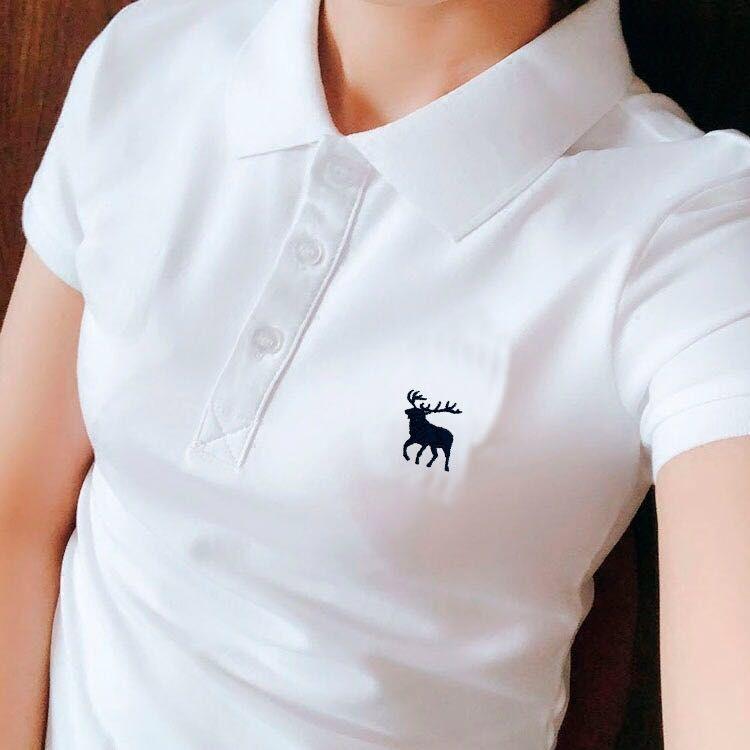 翻领短袖t恤女有领子上衣学生带领运动休闲保罗polo衫纯棉工作服t
