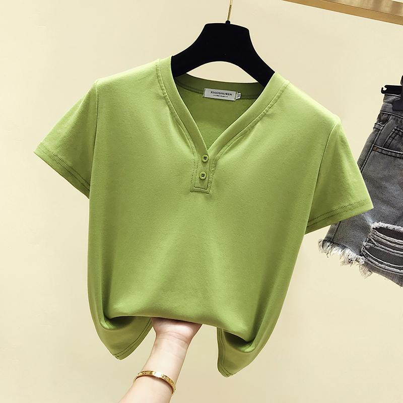 热销0件不包邮150-155cm小个子牛油果绿T恤下衣失踪T恤短袖上衣加小码xs夏季女