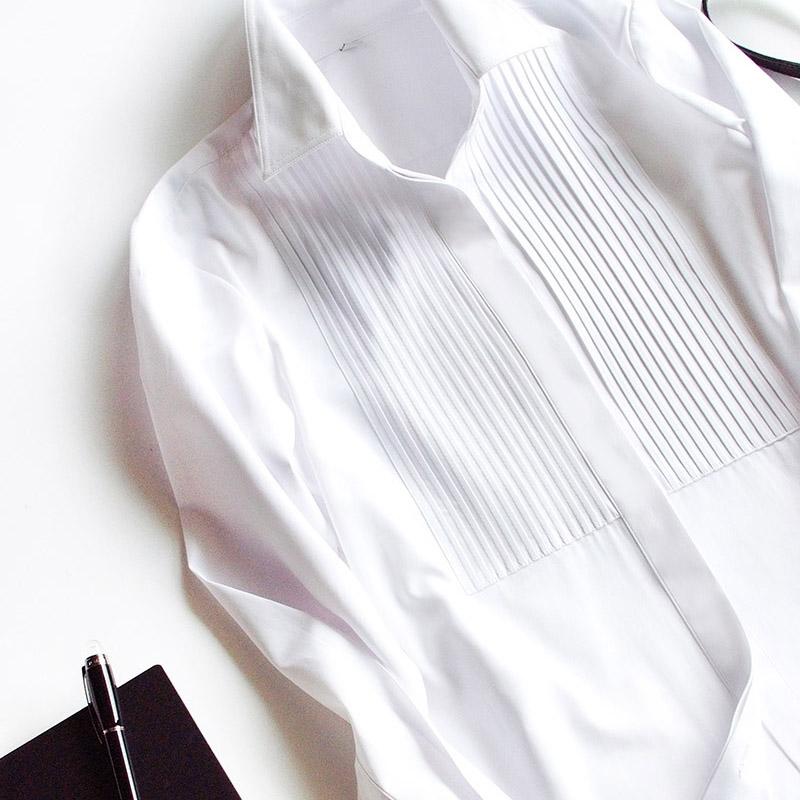 offiy-不撞衫高级感白色女纯棉衬衫