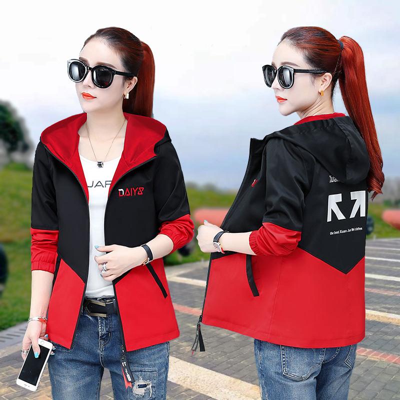 Jacket Womens spring and autumn new autumn wear Korean casual Top Jacket autumn hooded short baseball sportswear