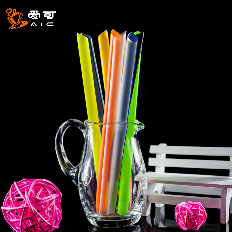 Disposable thick straw single independent packaging milk tea juice beverage coffee soybean milk plastic straw 100 pieces 1 Pack