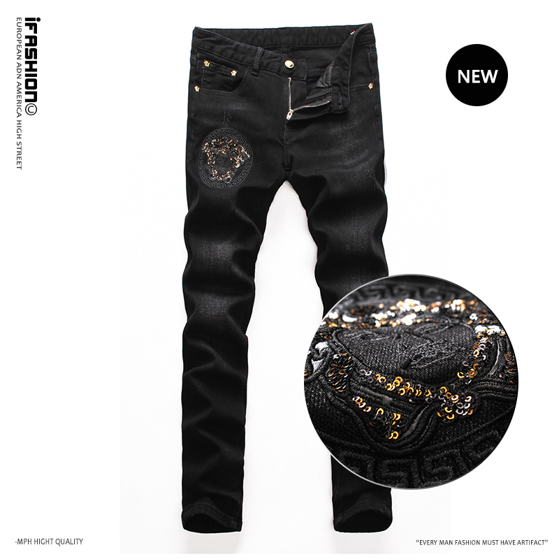 New Sequin high end embroidered jeans in spring and summer of 2021 mens slim fitting Black Stretch Jeans
