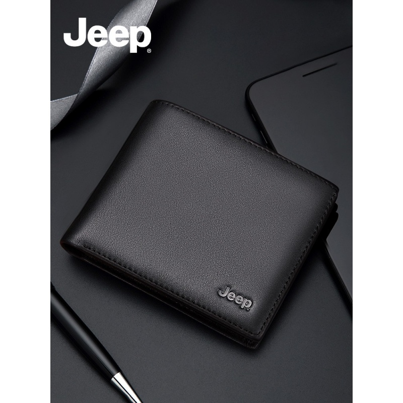 Jeep / Jeep mens wallet short leather wallet 2019 new leather business horizontal drivers license Wallet
