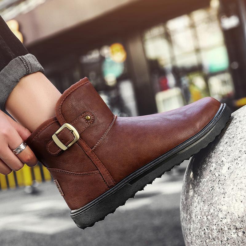 韩版皮面雪地靴男冬季保暖加绒防水短靴加厚防滑中筒保暖鞋面包鞋
