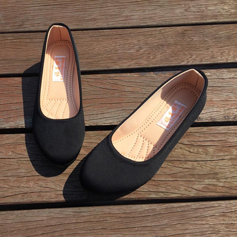 工鞋女鞋单鞋酒店黑色透气软底防滑职业一脚蹬老北京布鞋工作鞋子
