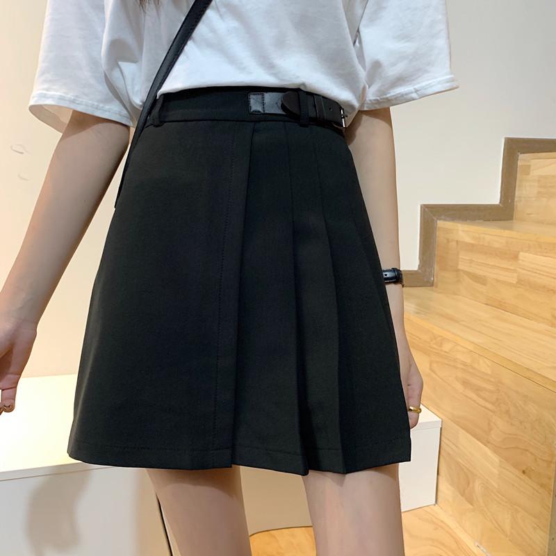 夏季新款大码高腰韩版不规则百褶半身裙胖mm显瘦a字学生百搭短裙