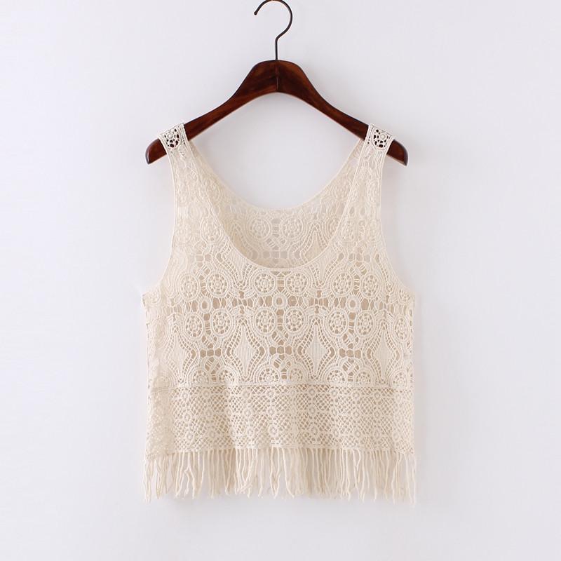 流苏女上衣夏季蕾丝衫外搭短款无袖罩衫针织钩花外穿吊带镂空背心