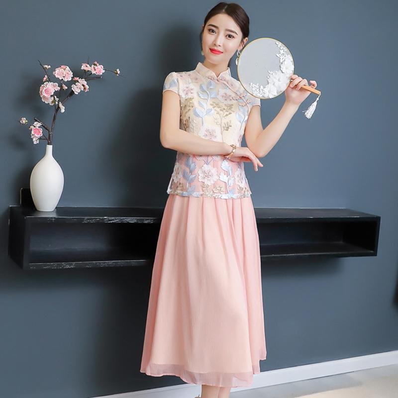 2018夏装新款改良旗袍中长裙中国风复古女装假两件刺绣蕾丝连衣裙