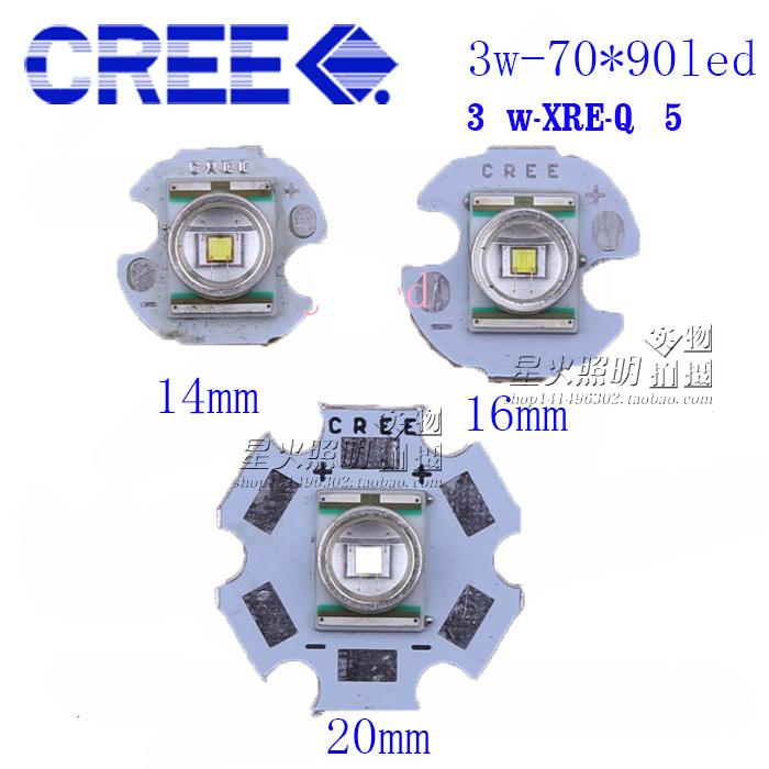 美国科锐CREE XRE Q5 3W LED强光手电筒灯泡灯珠 白黄红蓝 铝基板