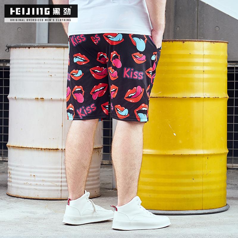 黑劲潮牌大码男装夏季胖子休闲短裤加肥加大男士沙滩裤肥佬五分裤