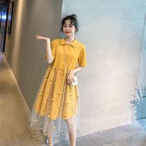 大码polo连衣裙女夏新款200斤胖mm宽松显瘦刺绣可爱网纱娃娃裙子
