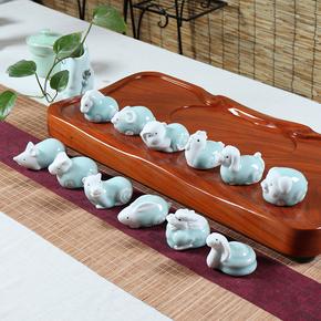 12属相生肖陶瓷创意龙摆件全套小狗鸡可爱风水手把件卡通十二