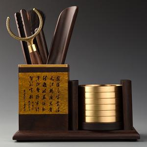 金丝楠木纯铜茶杯垫六君子套装功夫茶具茶道零配件实木茶勺养壶笔