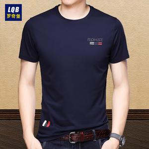 领5元券购买夏季新款中年男士短袖纯棉圆领t恤