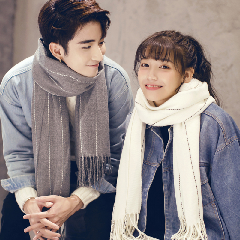 Scarf boys and girls autumn and winter Korean version versatile British student lovers Bib cute lovers a pair of fashion