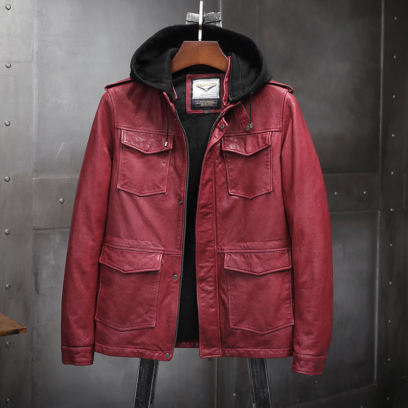 Detachable hooded single leather garment vegetable tanned sheep leather coat mens motorcycle leather jacket mens thin coat