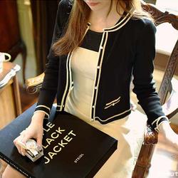 2020新款长袖上衣春秋季高腰短款针织开衫小香装修身冬季小外套女