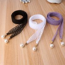 蕾丝腰带女韩版夏季收腰时尚百搭珍珠腰链大码装饰束腰绳连衣裙带