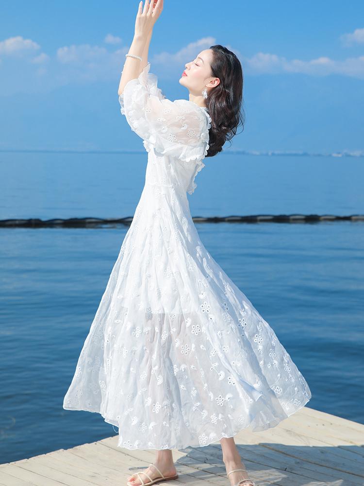 三亚沙滩裙2019新款白色连衣裙仙女裙子泰国巴厘岛海边度假长裙夏