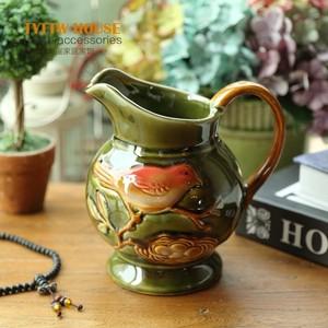 欧式田园绿色小鸟釉面花纹工艺陶瓷花瓶 单手柄花器摆件