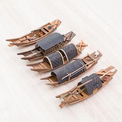 中国风木船模型摆件工艺品手工船摆件实木船渔船乌篷船帆船观光船