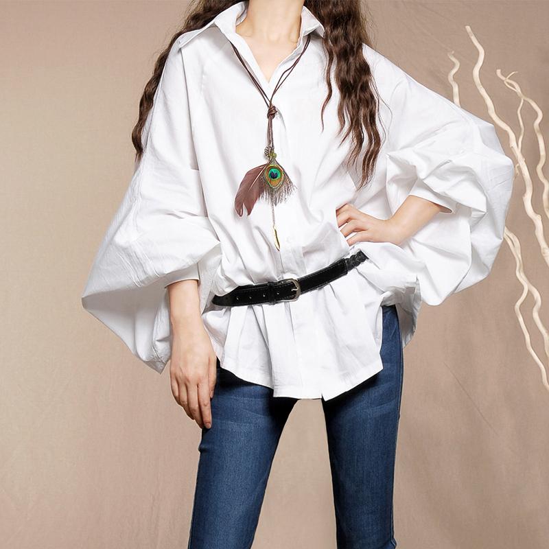 播喜流萤 春装女2019新款白色衬衫宽松蝙蝠灯笼袖长袖休闲衬衣