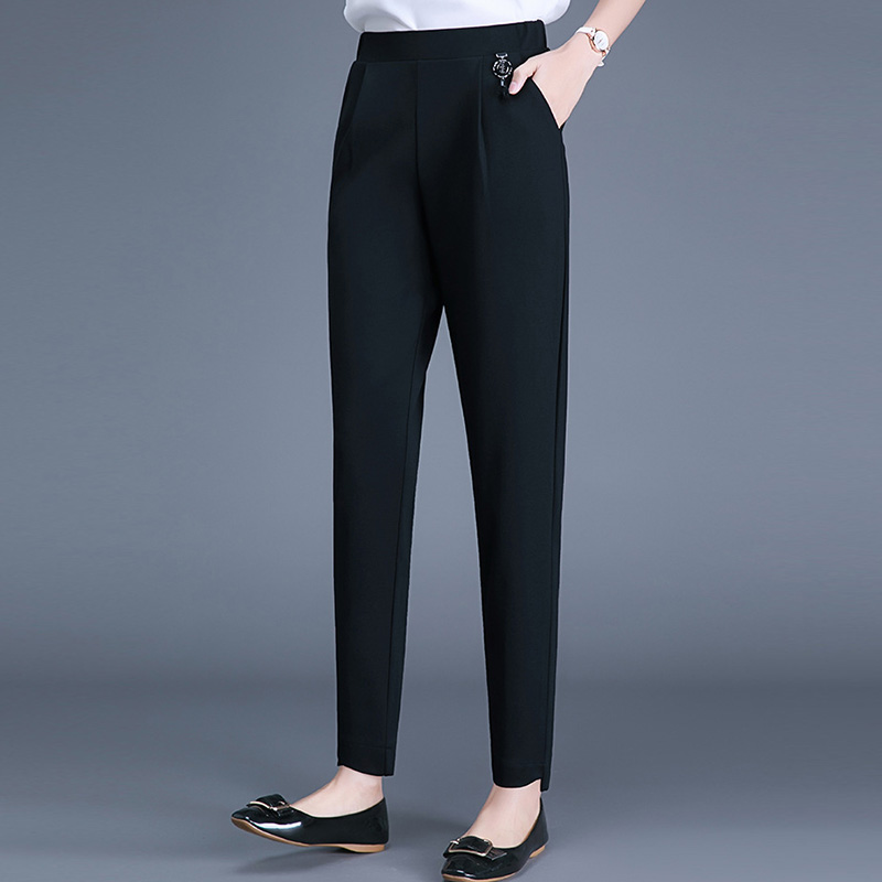 Girls pants with wide crotch large womens trousers elastic waist spring black thin mm fat sister thigh thick loose