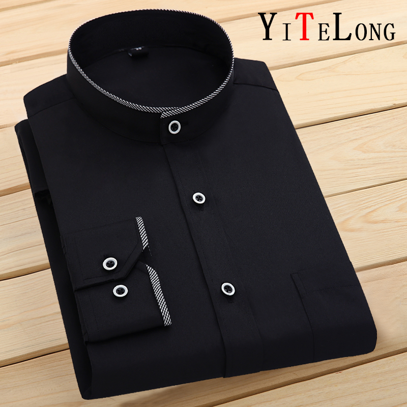 New style mens Chinese standing collar shirt stand collar long sleeve inch shirt no iron Zhongshan round neck long sleeve shirt Chinese style