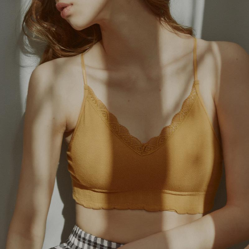 限时秒杀螺纹棉质背心款无钢圈内衣女蕾丝边细肩带文胸免扣春夏季舒适胸罩