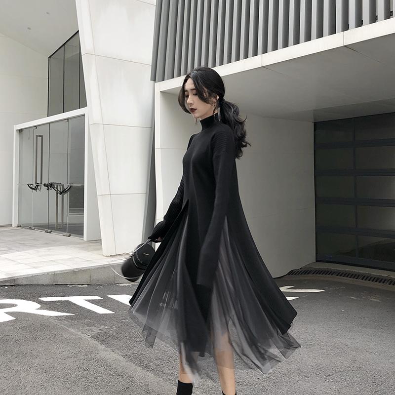 Irregular wool dress women Yamamoto over the knee French minority retro waist dress knitted split top winter